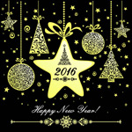 Golden ornaments new year cards vector