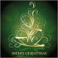 Link toGolden swirling christmas tree with blackish green background