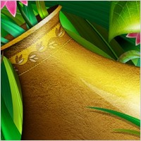 Link toGolden vase with flowers layered psd