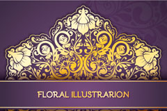 Link toGorgeous gold pattern purple background vector