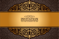 Link toGorgeous golden invitation card vector