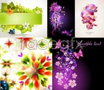 Link toGorgeous green leaves flowers vector