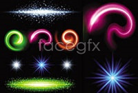 Gorgeous sparkling five beam effects, vector