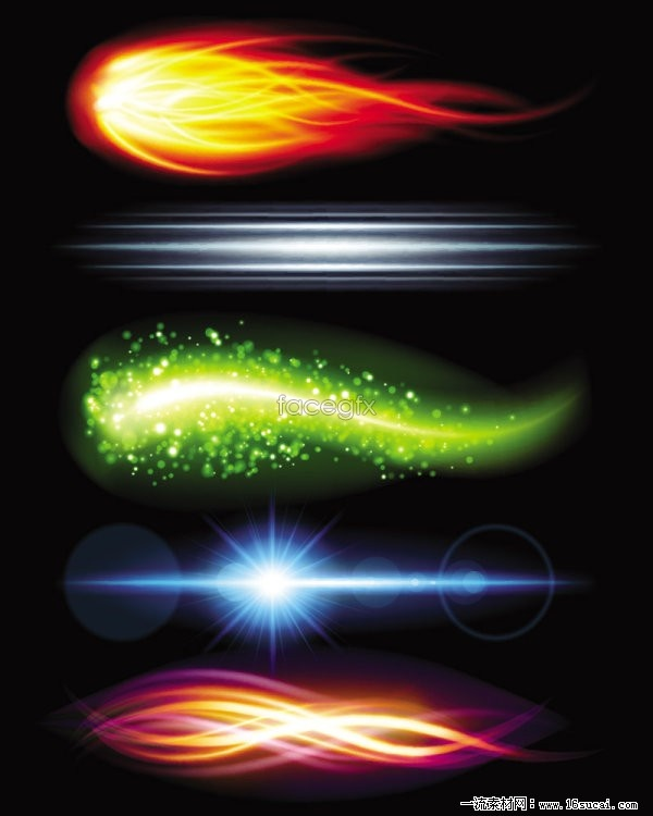 Gorgeous sparkling four beam effects, vector