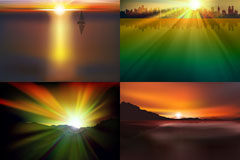 Link toGorgeous sunrises and sunsets background vector
