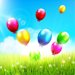 Link toGrass floating balloons vector