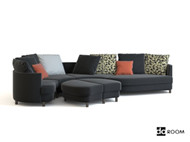 Link toGray and black fabric combination sofa 3d model