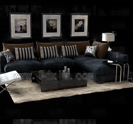 Link toGray and black fabric sofa combination 3d model