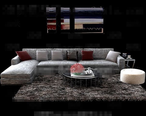 Link toGray comfortable fabric sofa combination 3d model
