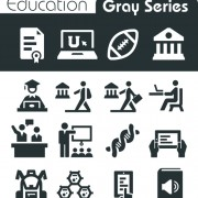 Gray series social icons vector set 03 free