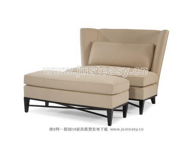 Gray sofa chair and footstool 3d model (including materials)