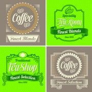 Link toGreen and brown coffee labels vector free