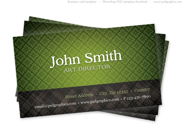 Link toGreen business card template with seamless pattern psd