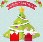 Link toGreen christmas tree greeting cards vector