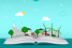 Green cities in the book illustrator vector diagrams