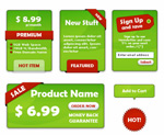 Green decorative labels