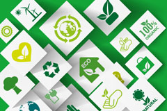 Green eco-concept paper-cut background vector
