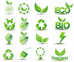 Green energy-saving icons
