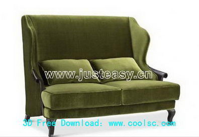 Link toGreen fabric sofa 3d model (including materials)