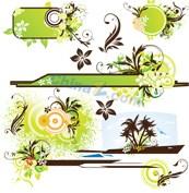 Link toGreen floral background vector map