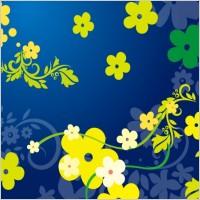 Link toGreen floral vector in blue backgro