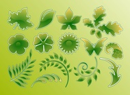 Link toGreen glossy vector leaves free