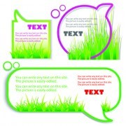Link toGreen grass with cloud for text vector 02