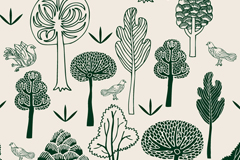 Link toGreen hand painted forest and dove vector