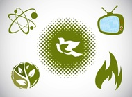 Link toGreen icons set vector free