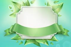 Link toGreen leaf and ribbon label vector