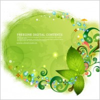 Link toGreen leaves and colorful background pattern vector