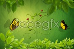 Green leaves and vine psd