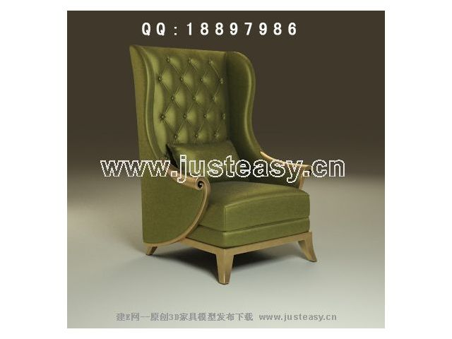 Link toGreen noble single sofa 3d model