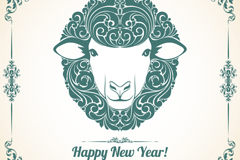 Link toGreen-painted sheep head new year greeting cards, vector