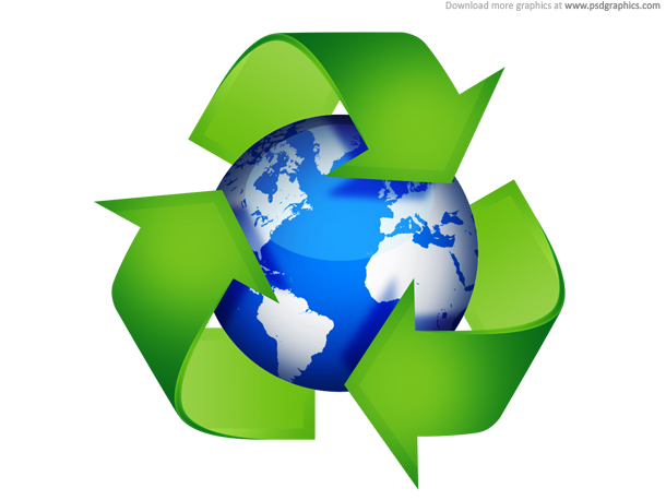Green recycling symbols psd