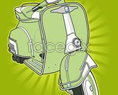 Link toGreen scooter, vector