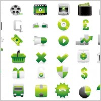 Link toGreen shopping website decoration icon vector