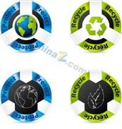 Link toGreen stickers vector design