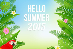 Green summer 2015 poster vector graphics