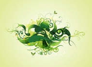 Link toGreen swirling plants vector free