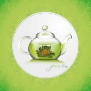 Link toGreen tea with pattern background vector free