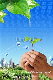Link toGreen tech theme dew green hands butterfly psd
