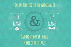 Link toGreen wedding invitation poster vector