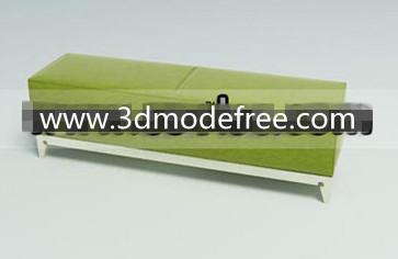 Link toGreen wooden fabric sofa bench 3d model