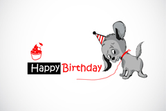 Link toGrey dog birthday cards vector illustration