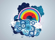 Link toGrunge rainbow clouds vector free