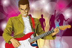 Guitar man and dancers, vector illustration