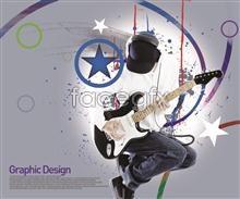 Link toGuitars pentacle music theme design elements psd