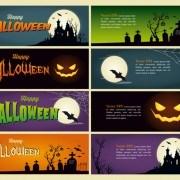 Link toHalloween night banner vector set 02