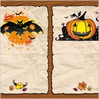 Link toHalloween pumpkin bat background vector